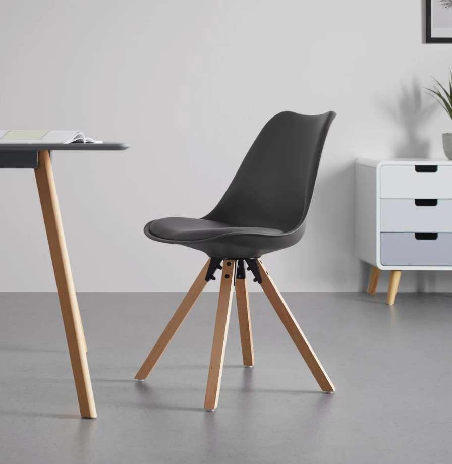 Bessagi Home STUHL 'Ricky' je 20,93€ + 5,95€ Versand / Beine: Buche, massiv / Sitzschale: PU / Sitzkissen: Kunstleder. / grau oder weiß