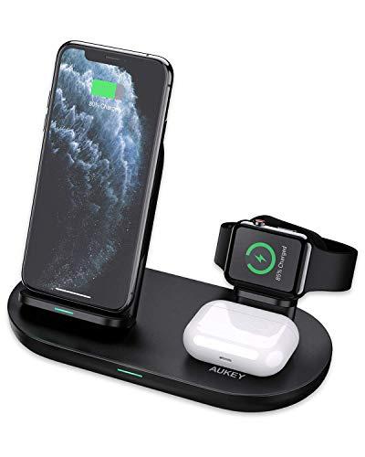 AUKEY 3 in 1 kabellose Ladestation für IPhone, AirPods und Apple Watch
