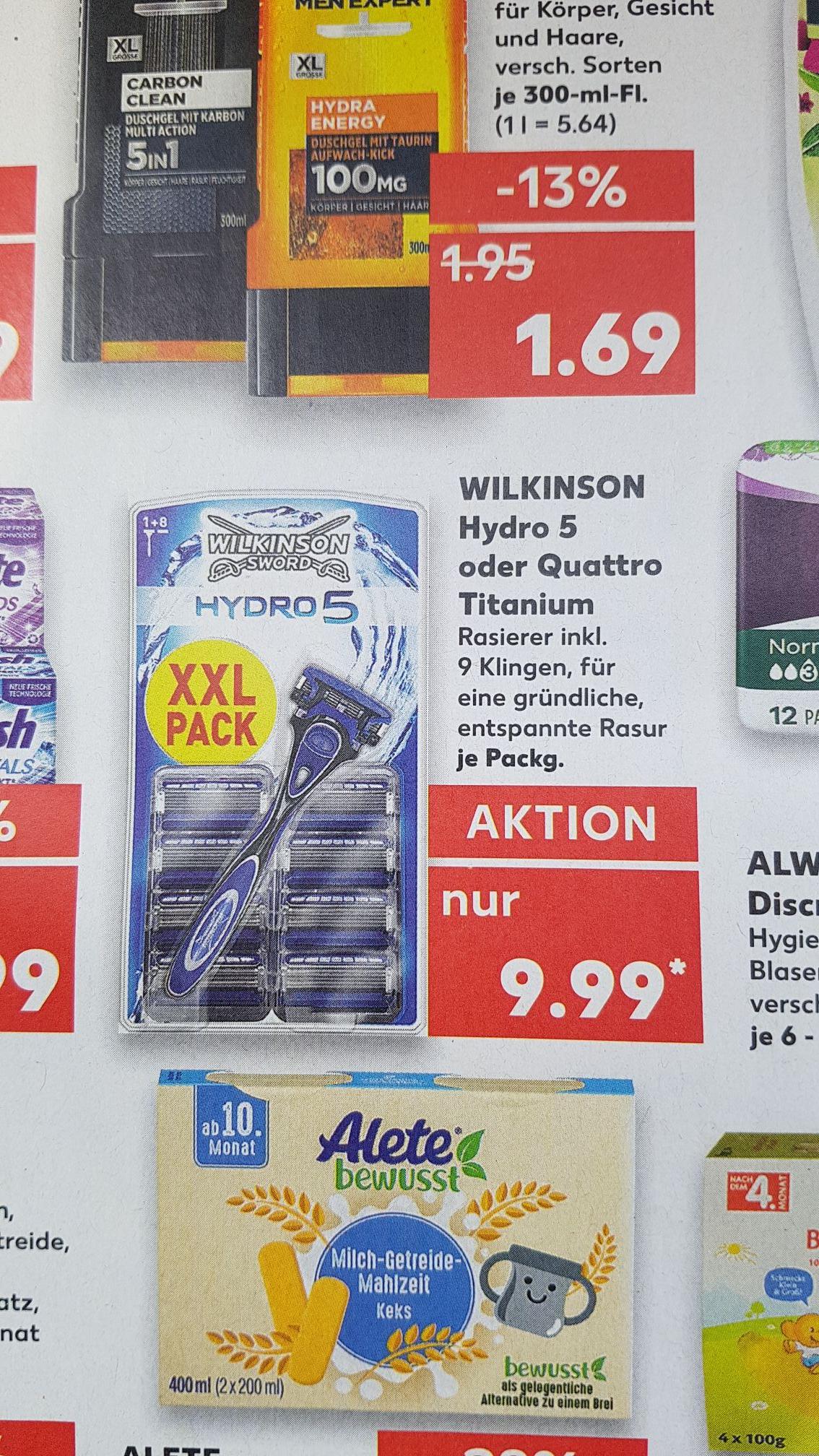 [Kaufland] Wilkinson Hydro 5 oder Quattro (Griff+9Klingen)