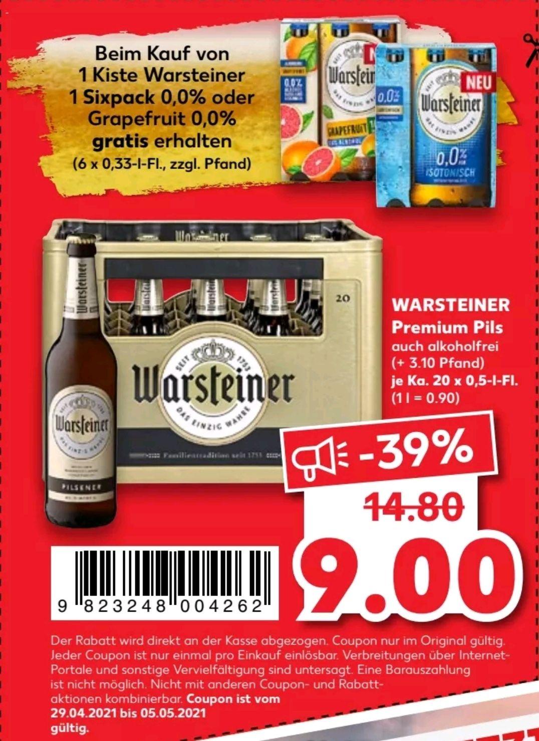 (Kaufland) Kauf 1 Kiste WARSTEINER Premium Pils, Gratis 6er Pack WARSTEINER 0,0%/0,0% Grapefruit (zzgl. Pfand)