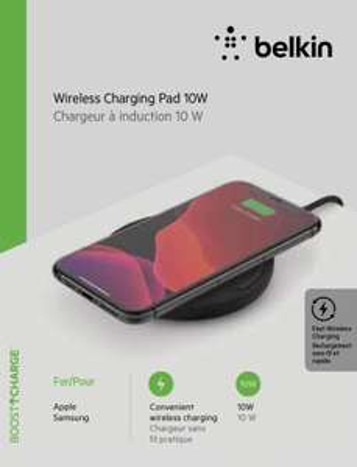Belkin Wireless Charging Pad (Qi, iPhones bis 7.5W, Samsung bis 10W, sonst 5W, LED-Anzeige, inkl. Quick Charge 3.0-Netzteil & Kabel)