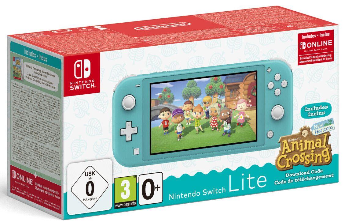 Nintendo Switch Lite türkis/koralle + Animal Crossing: New Horizons + 3 Monate Switch Online (Spiel als Download-Code, Metacritic 90/5.5)