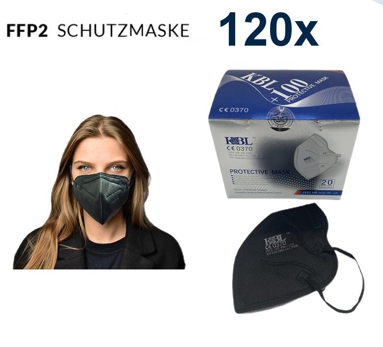 120 FFP2 Masken schwarz CE Zertifikat 0370 EN 149:2001 (ES), Versand aus DE, Stückpreis 0,3125 EUR