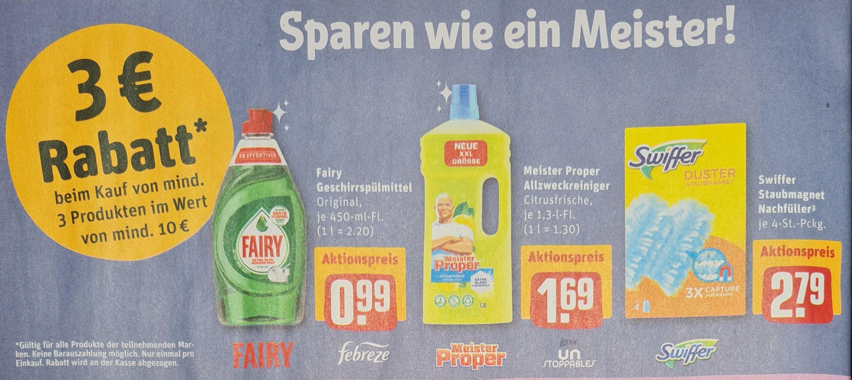 REWE 3 Euro Rabatt beim Kauf von mindestens 3 Produkten im Wert von mind. 10 Euro ab 03.05