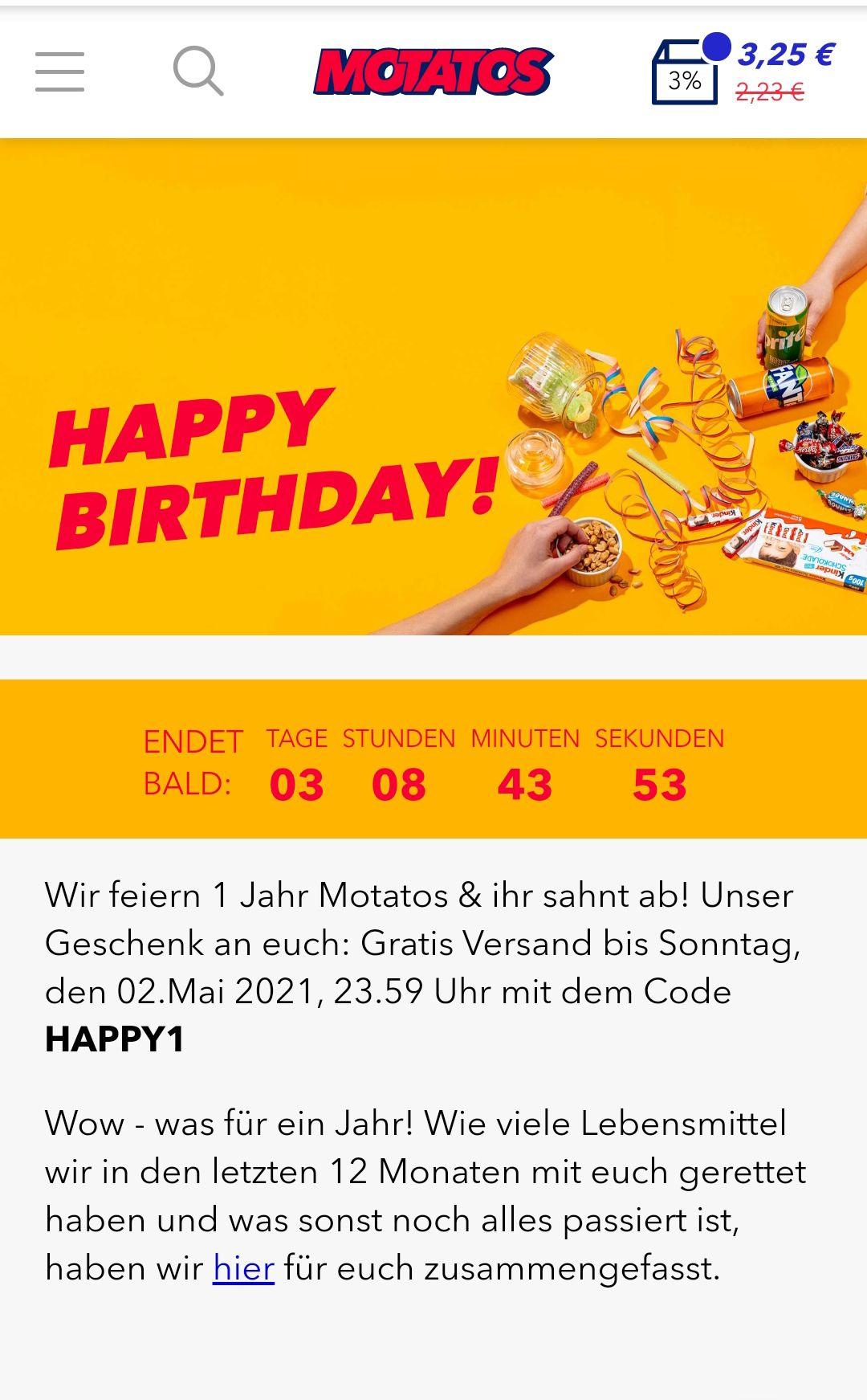 Kostenloser Versand bei Motatos.de, genereller MBW von 25€