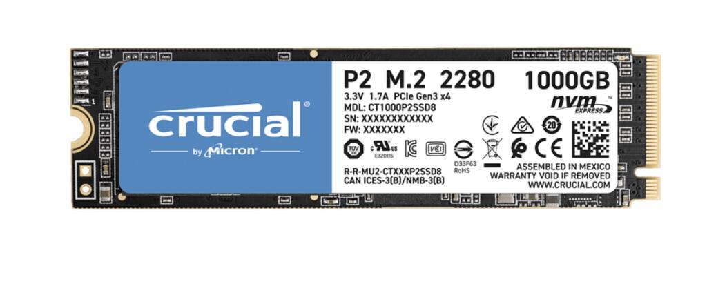 [ Media Markt] Crucial P2 CT1000P2SSD8 1TB SSD (3D NAND, NVMe, PCIe, M.2, intern)