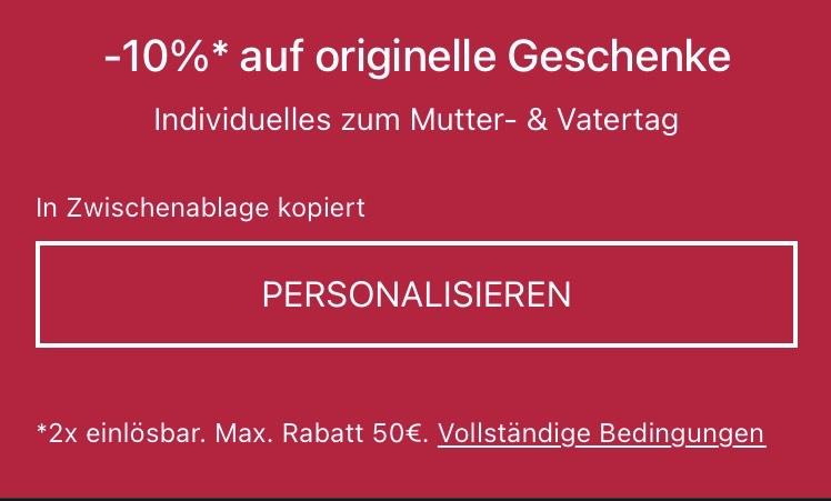 [Ebay] 10% Gutschein für personalisierte Artikel
