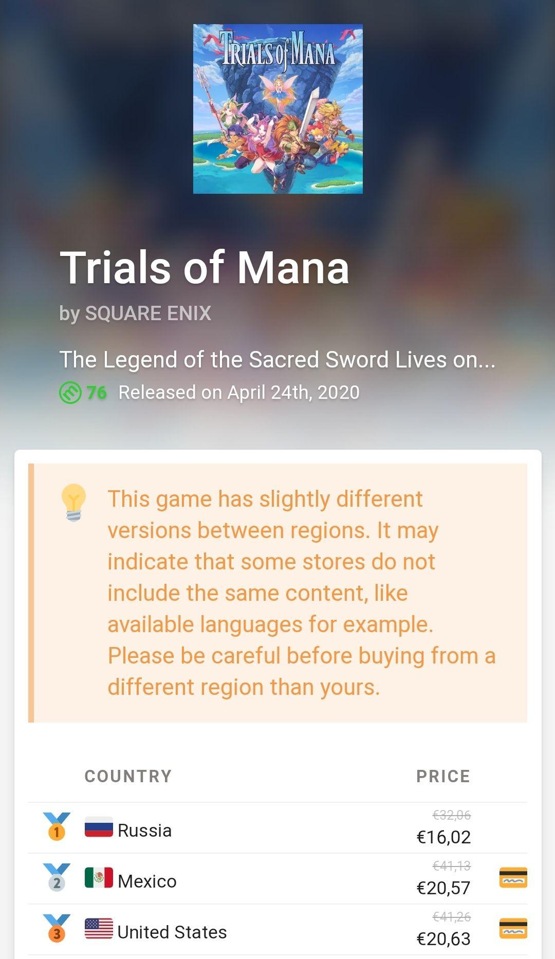 Trials of mana eshop Nintendo switch (RUS)