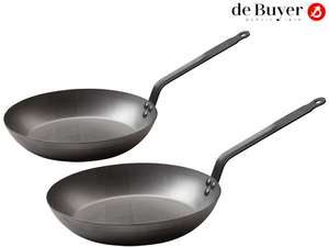 De Buyer 2-teiliges Eisenpfannen-Set (Ø 24 cm + 28 cm, Cool-Touch-Griff) [iBOOD]