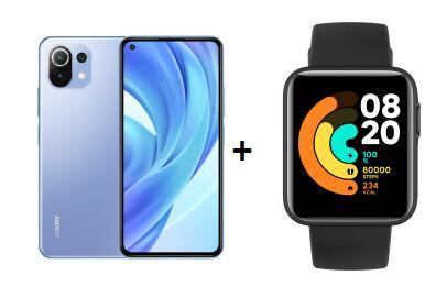 "Xiaomi Mi 11 Lite 6.55"" FHD+ Dual-SIM Smartphone (6/128GB, SD732G, USB-C, 4250mAh, Android 11) + XIAOMI Mi Watch Lite"