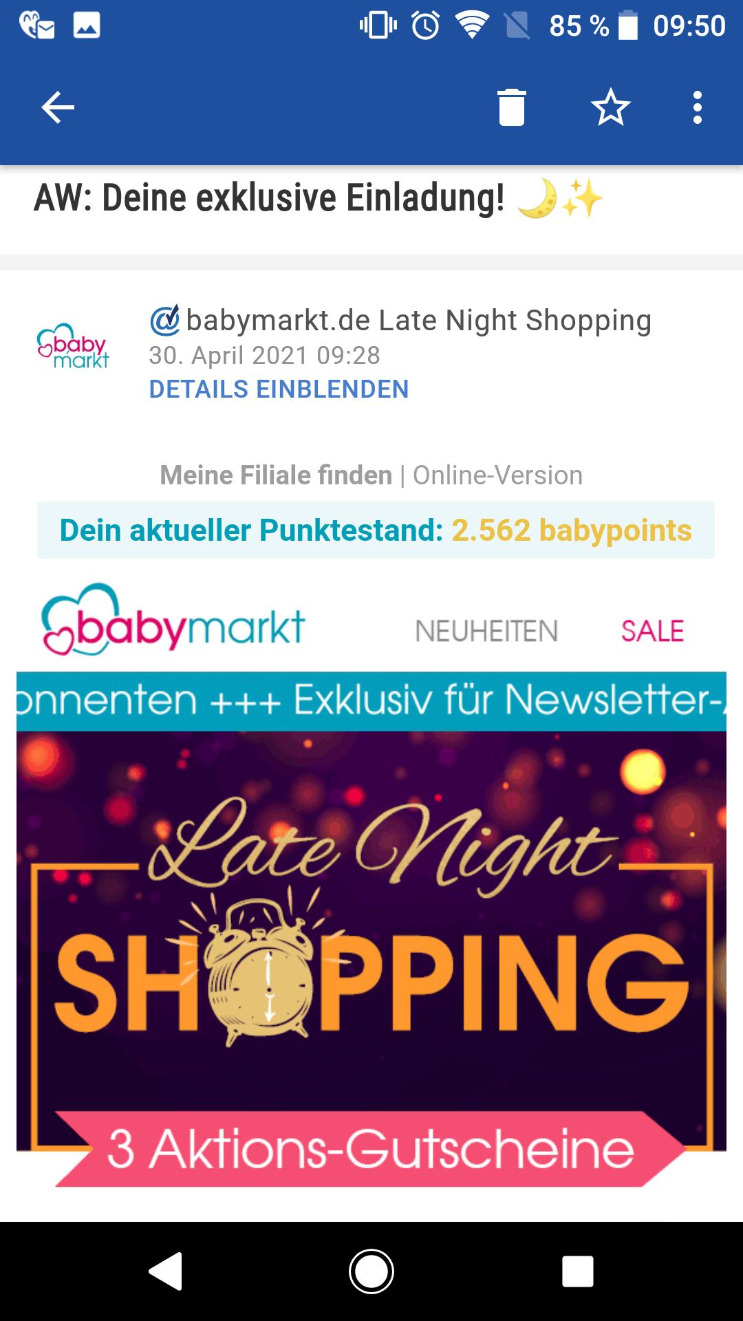 ENDSPURT, NUR HEUTE! Babymarkt 16,66% Rabatt möglich late night Shopping MBW 180 Euro