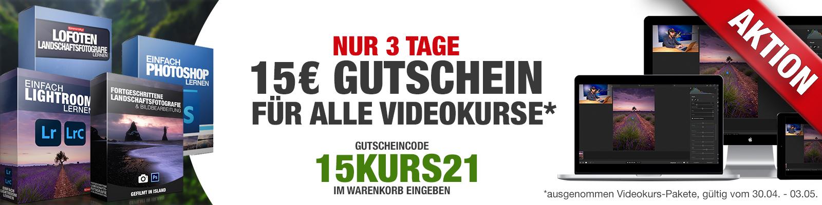 15€ Gutschein für alle Videokurse
