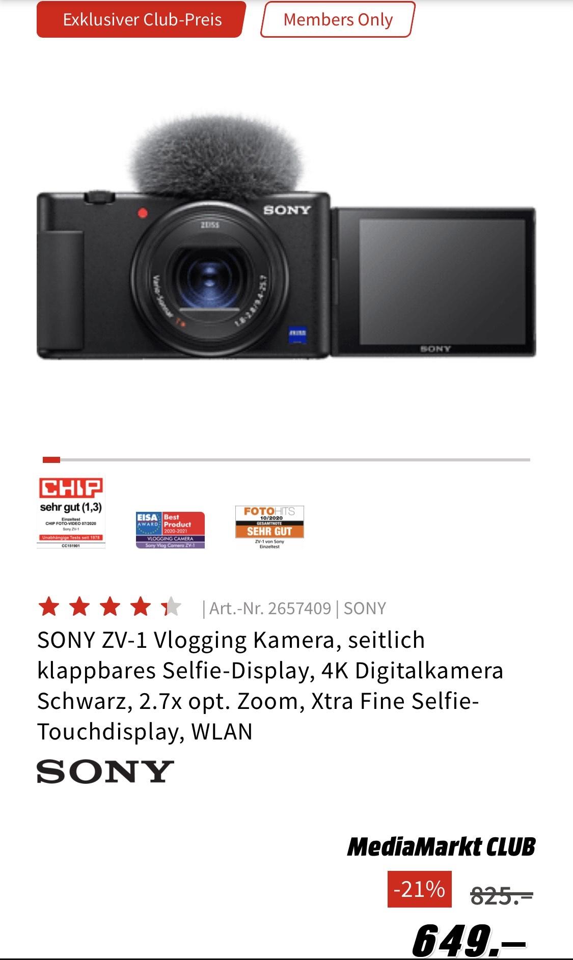 Sony ZV-1 MediaMarkt Club + Newsletter Gutschein