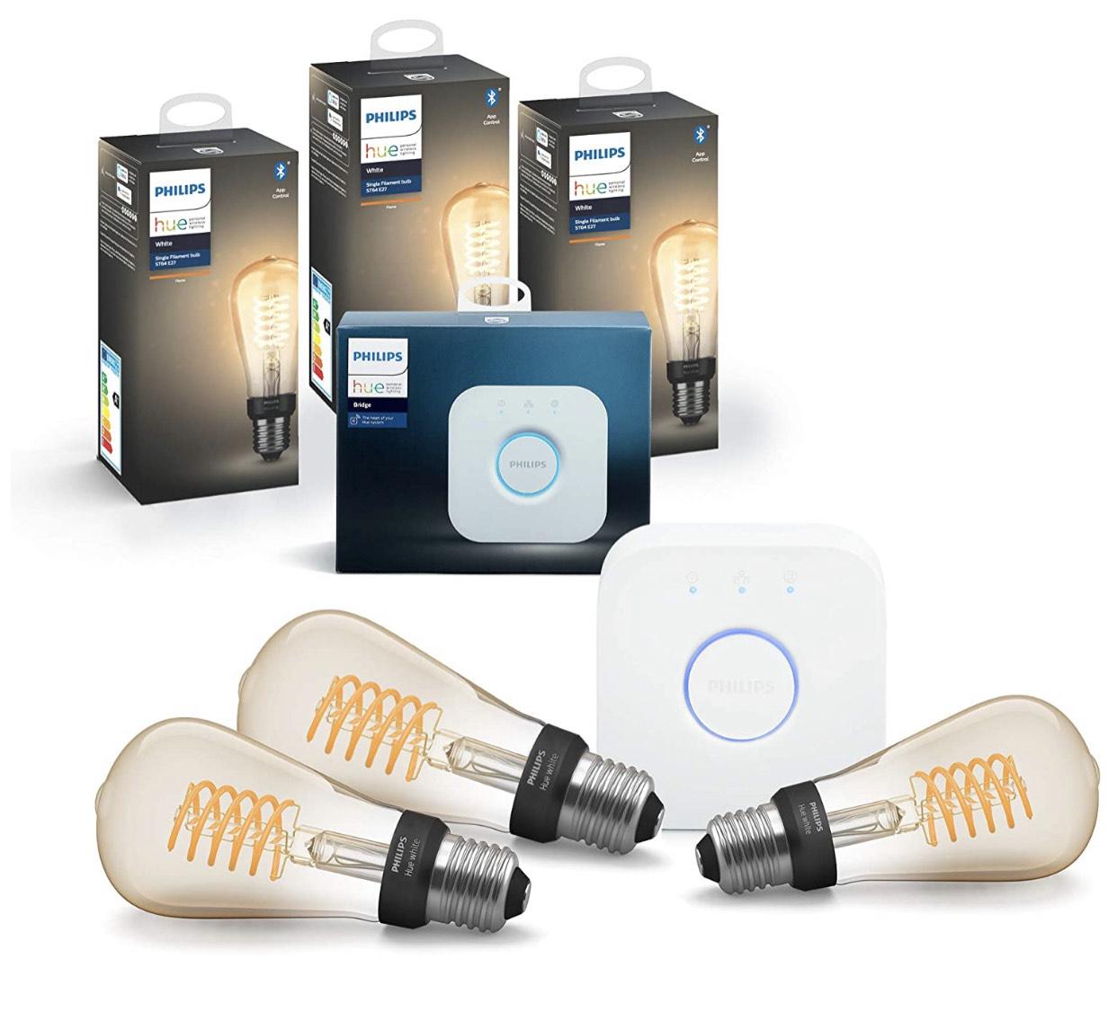 [Amazon] Philips Hue White Filament E27 Starter Set 3er Pack inkl. Bridge