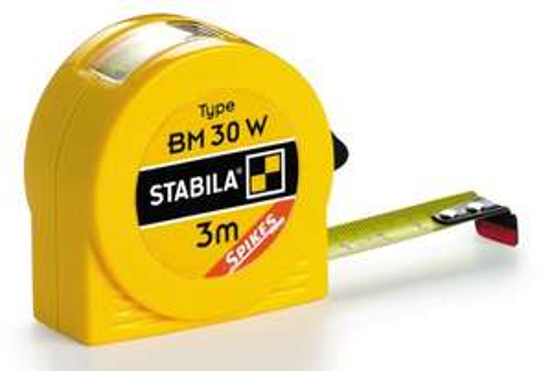 STABILA Taschenbandmaß BM 30 W (3 m, Innenmaß-Anzeige, Spikes-Haken) [Prime]
