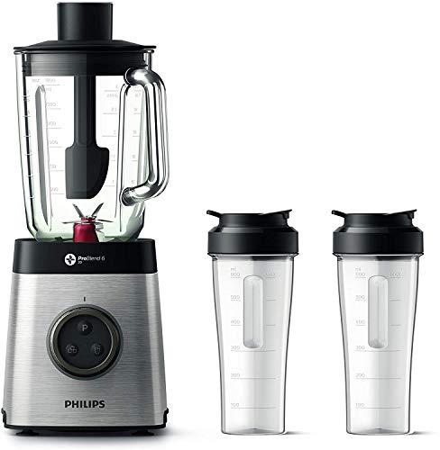 [Amazon.fr] Philips HR3655/00 Standmixer (1400 Watt, ProBlend 6 3D Technologie, 2 Liter Glasbehälter, 2x Trinkbecher, Spülmaschinenfest)