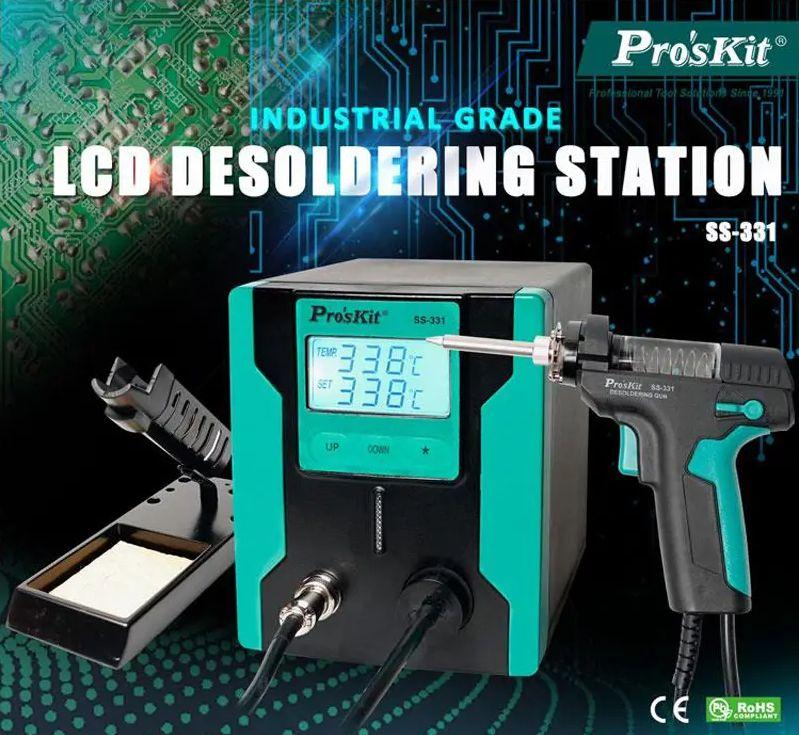 Pro'sKit SS-331H Entlötstation (90W, 160°-480°C, 600mmHg Vakuumpumpe, LCD-Anzeige)