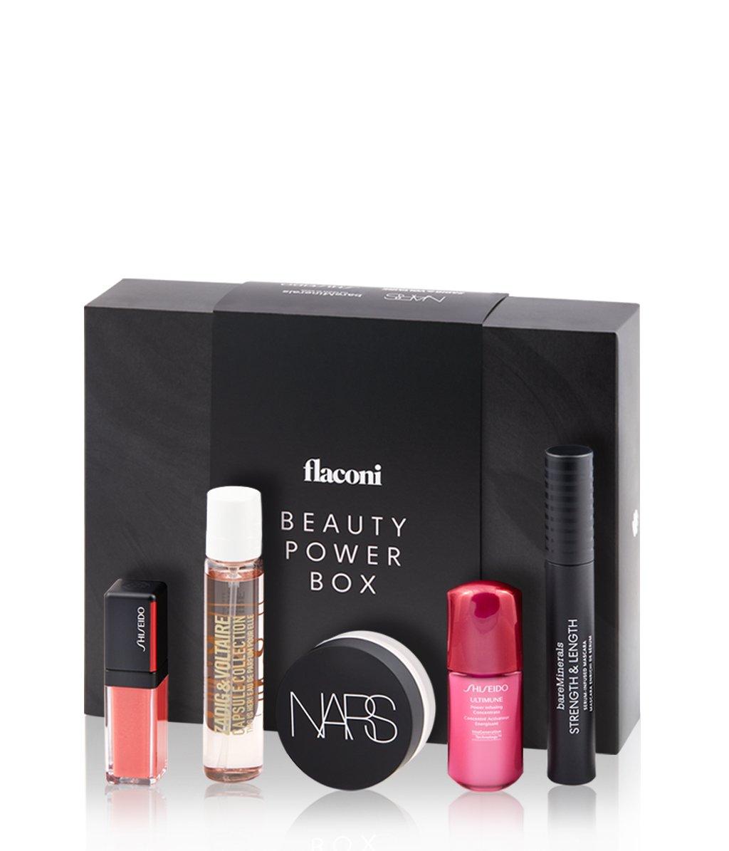 25% Rabatt auf die flaconi Beauty Power Box (1x Parfüm 20 ml + 1x Lipgloss + 1x Gesichtsserum 10 ml + 1x Loser Puder + 1x Mascara)