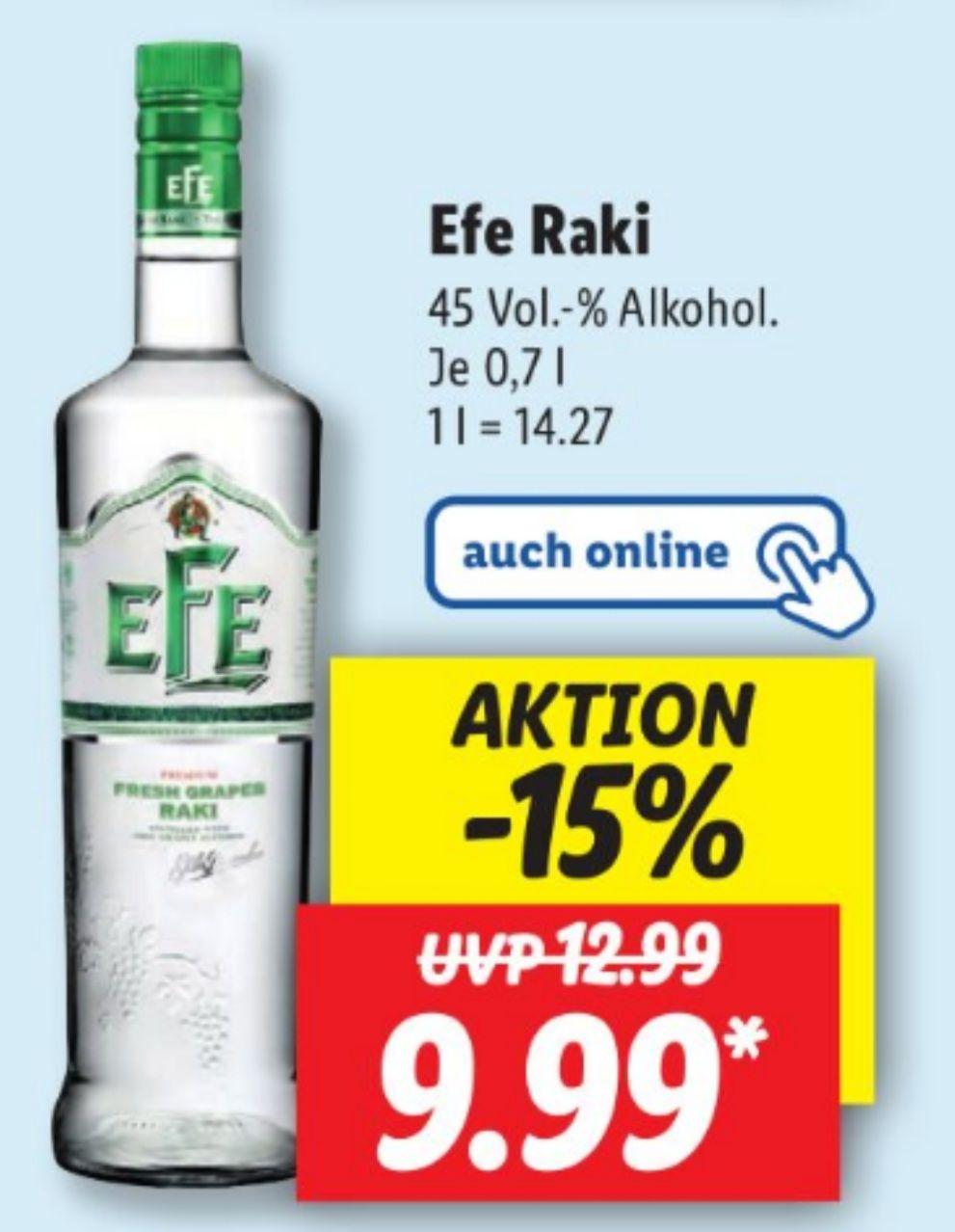 Efe Raki 45% 0,7 l für 9,99€ statt 12,99€ UND Berentzen Liköre 15-18% für 4,49 statt 6,79€ ab 06.05 Lidl