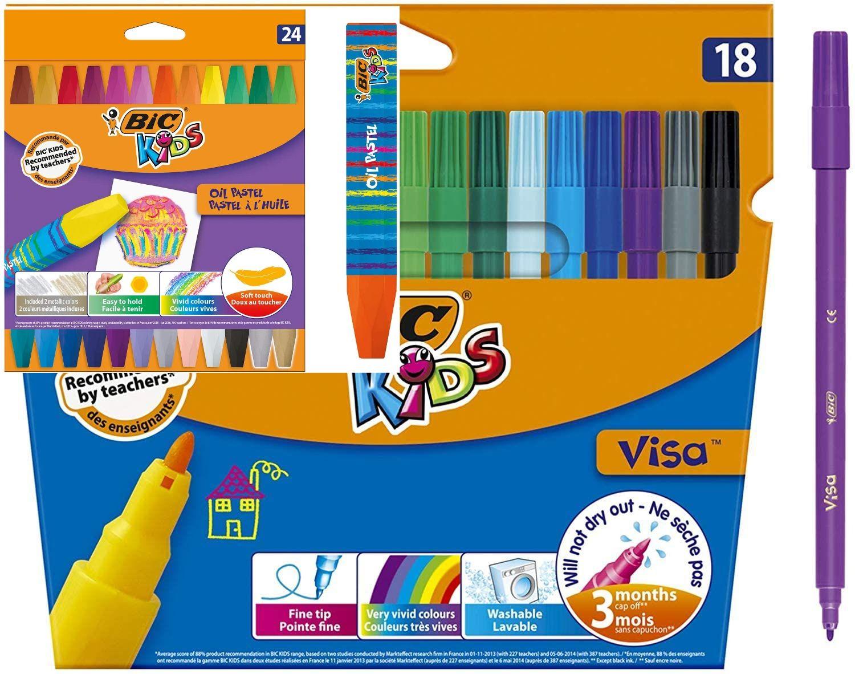 BIC Kids Filzstift Visa 18 St. oder Ölmalkreide Oil Pastels 24 St., Aldi Süd