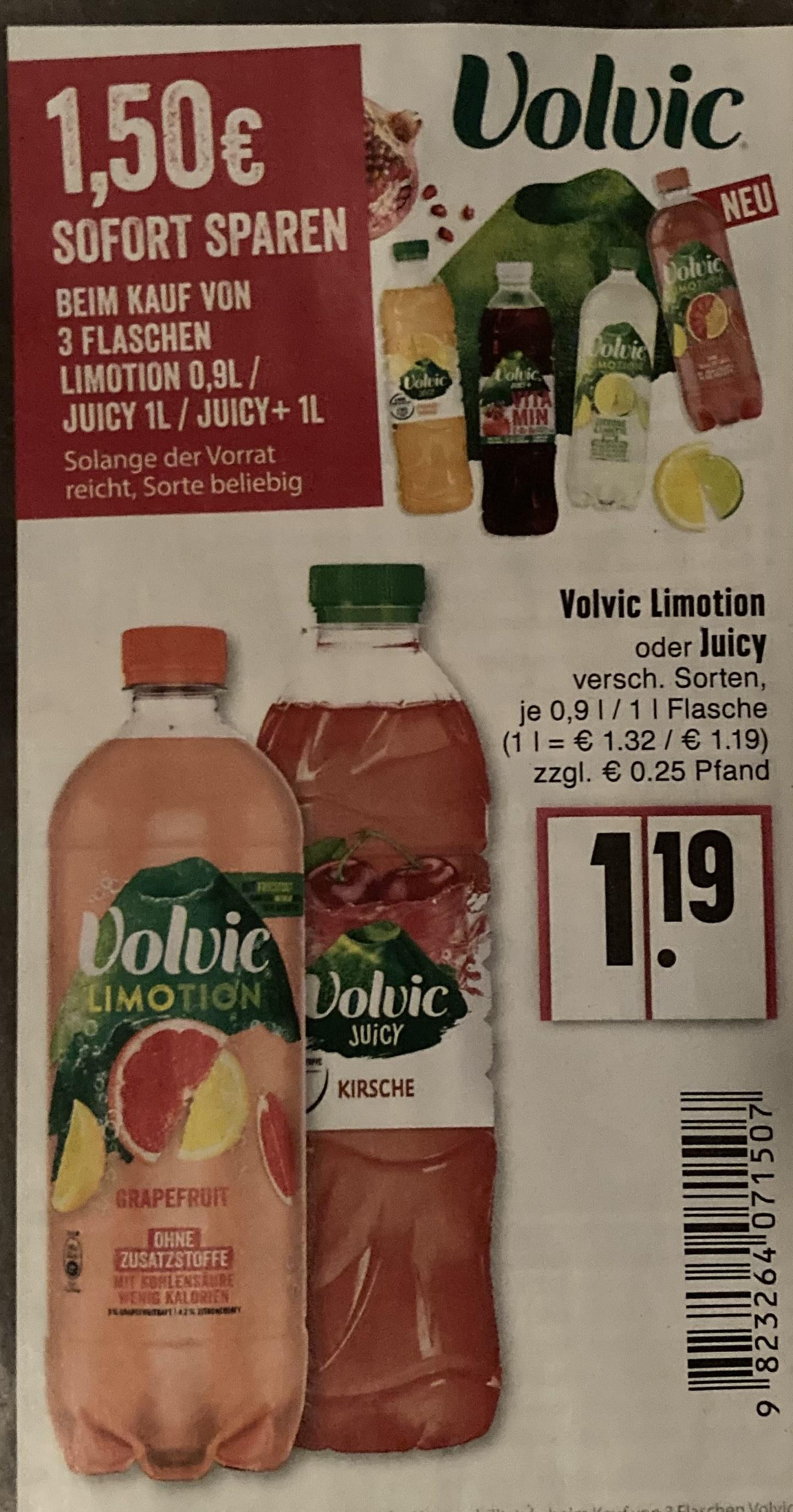 [EDEKA Rhein-Ruhr] 3* Volvic Juicy oder Limotion kaufen -1,50€ sparen