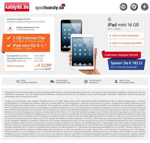 iPad Mini mit 5GB Vodafone Flatrate