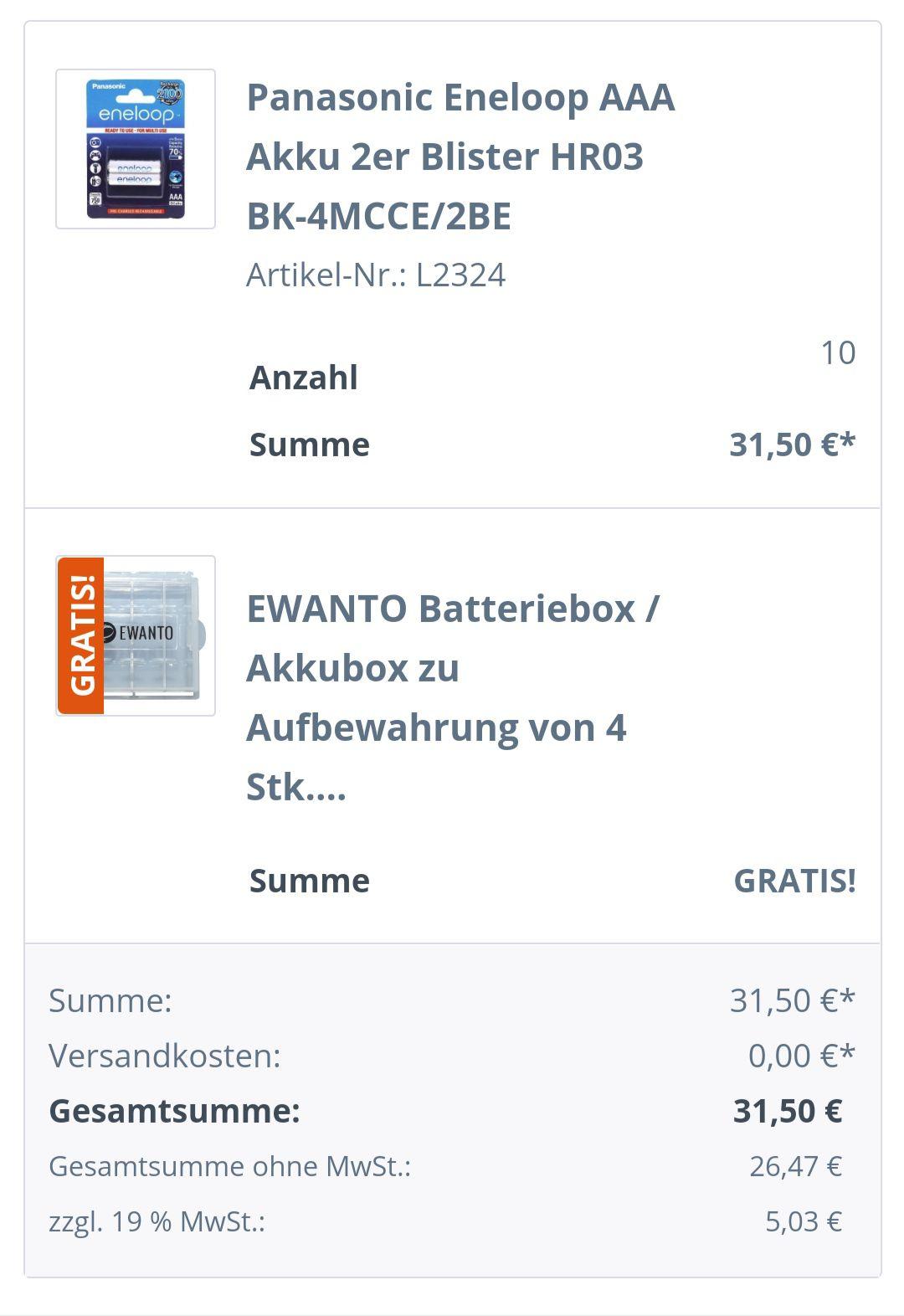 Eneloop AAA 10 x 2er Blister (insgesamt 20 Stück / 1,575€ pro Stück)