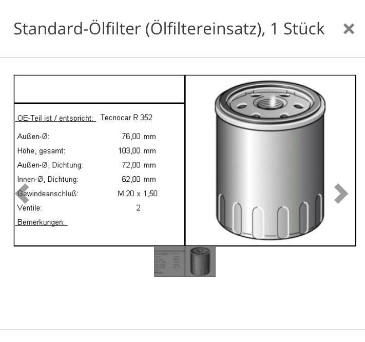 Standard Ölfilter OE-Teil entspricht: Tecnocar R 352