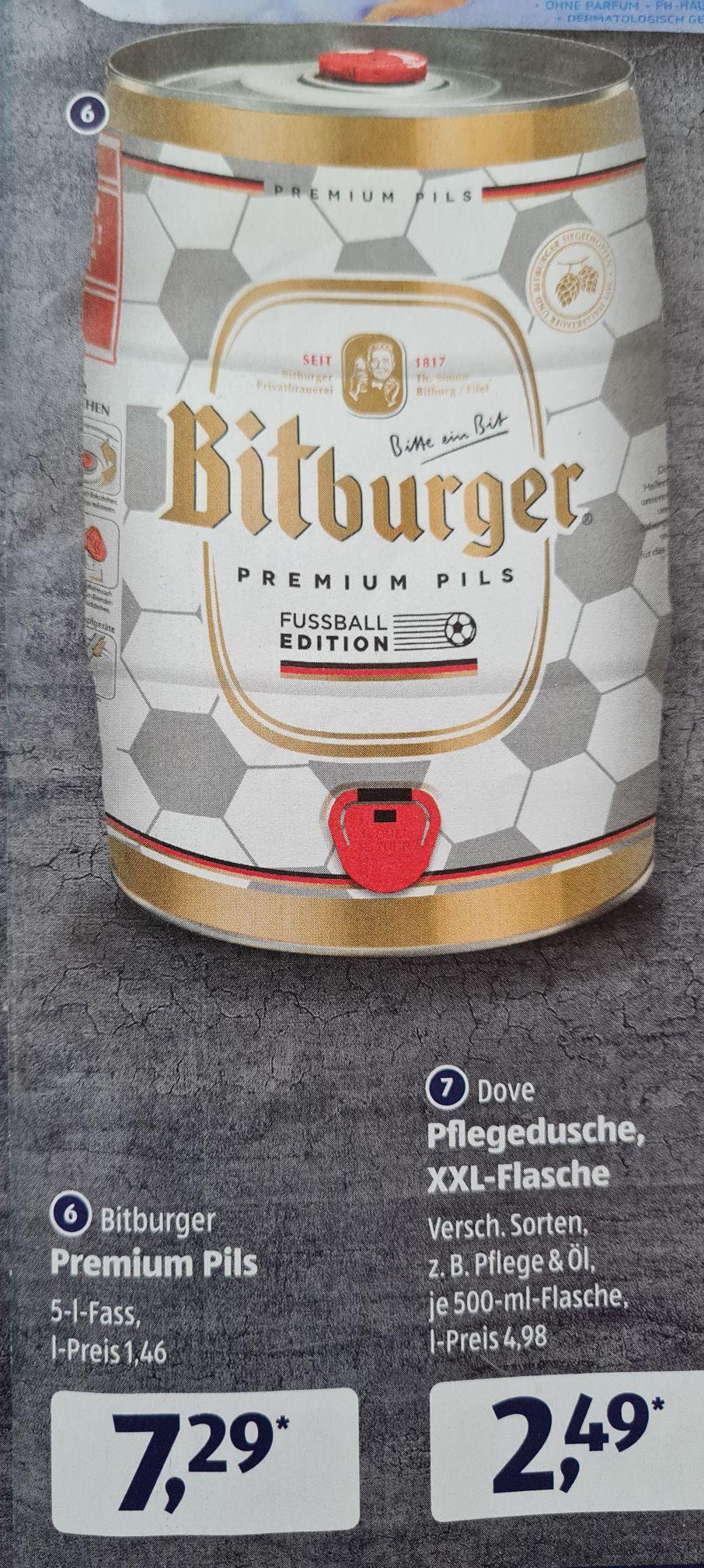 Bitburger Premium Pils 5 Liter Fass Fussball Edition ab Freitag den 07.05 Aldi Süd