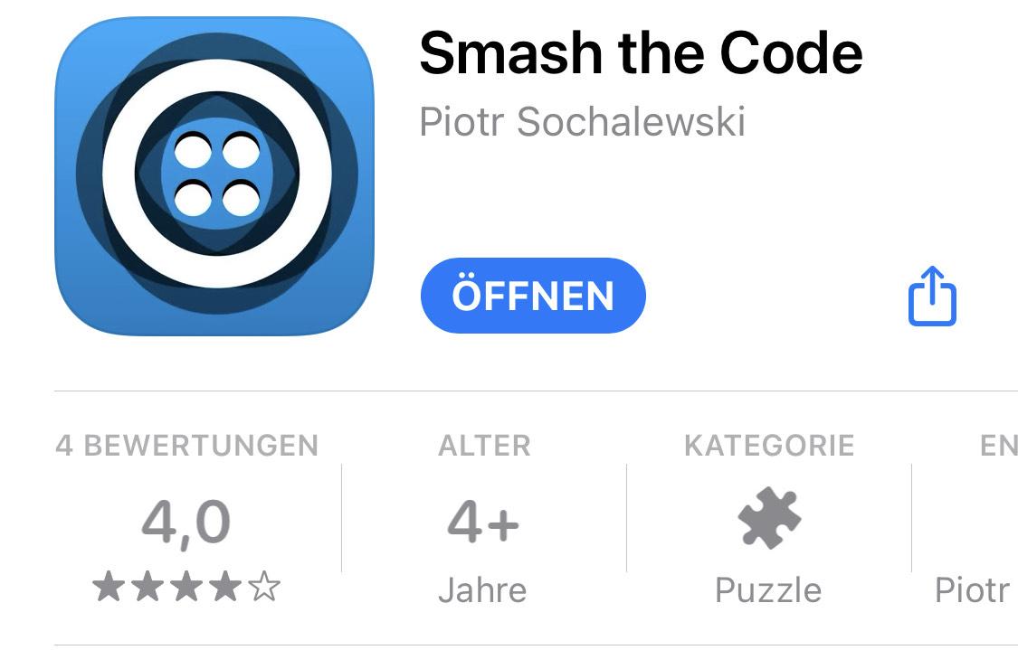 [iOS] Smash the Code - Rätselspiel wie Mastermind - kostenlos statt 1,09 €