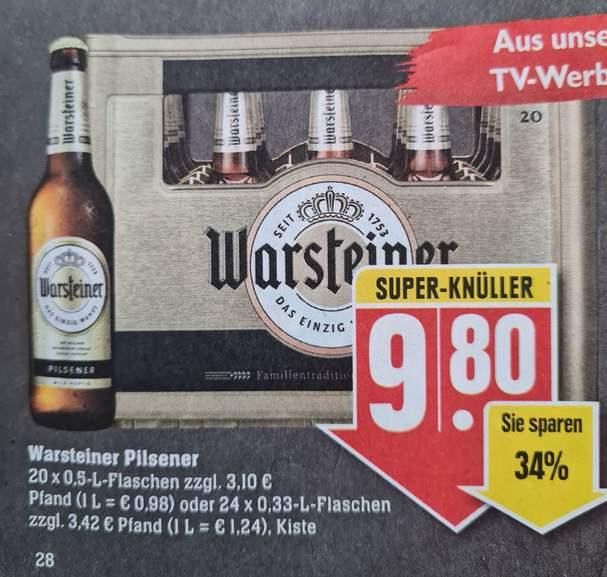 Warsteiner Pilsner 20 x 0,5 l Flaschen zzgl. 3,10€ Pfand für 9,80€ statt 13,99€ ab 03.05 Edeka Südwest