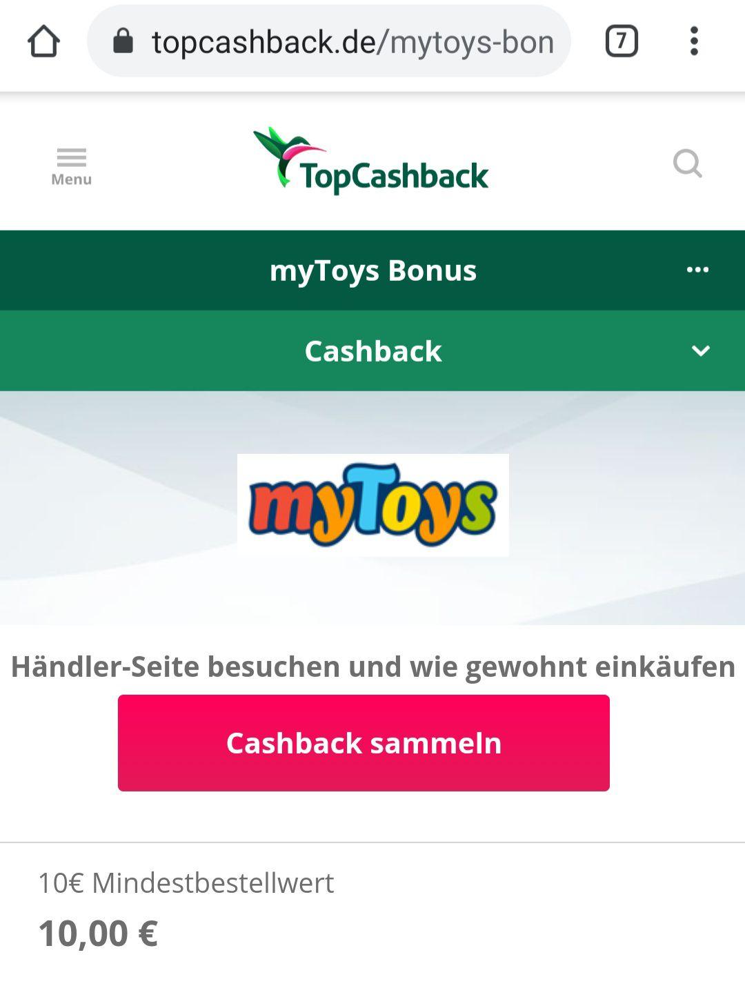 Neukunden, Topcashback - 10€ CB Bonus + weitere 6% CB bei MyToys, ab 10€ MBW