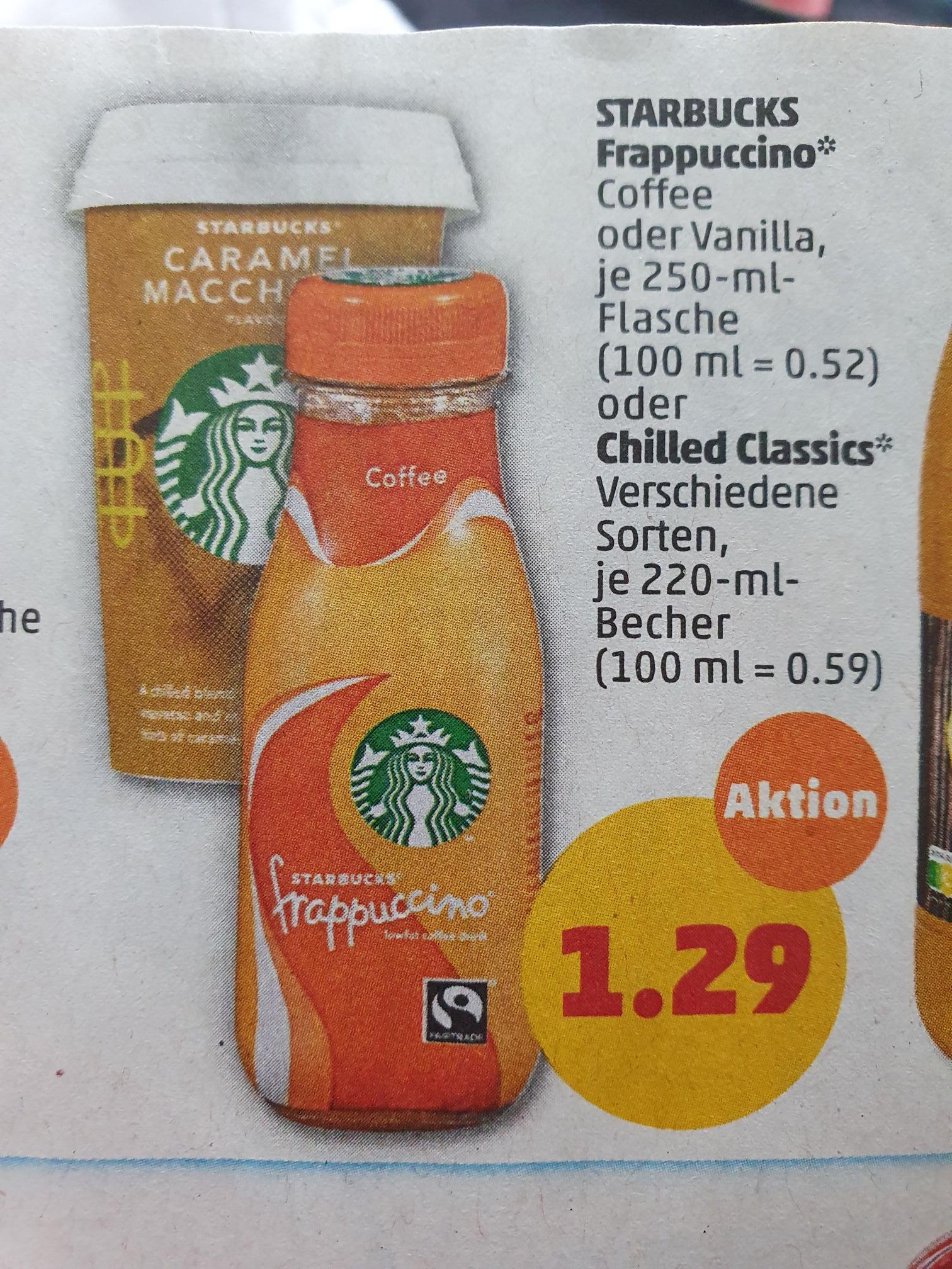 (COUPIES) Starbucks Milchmischgetränk, versch. Sorten, 220ml (mit Cashback für 0,59€)
