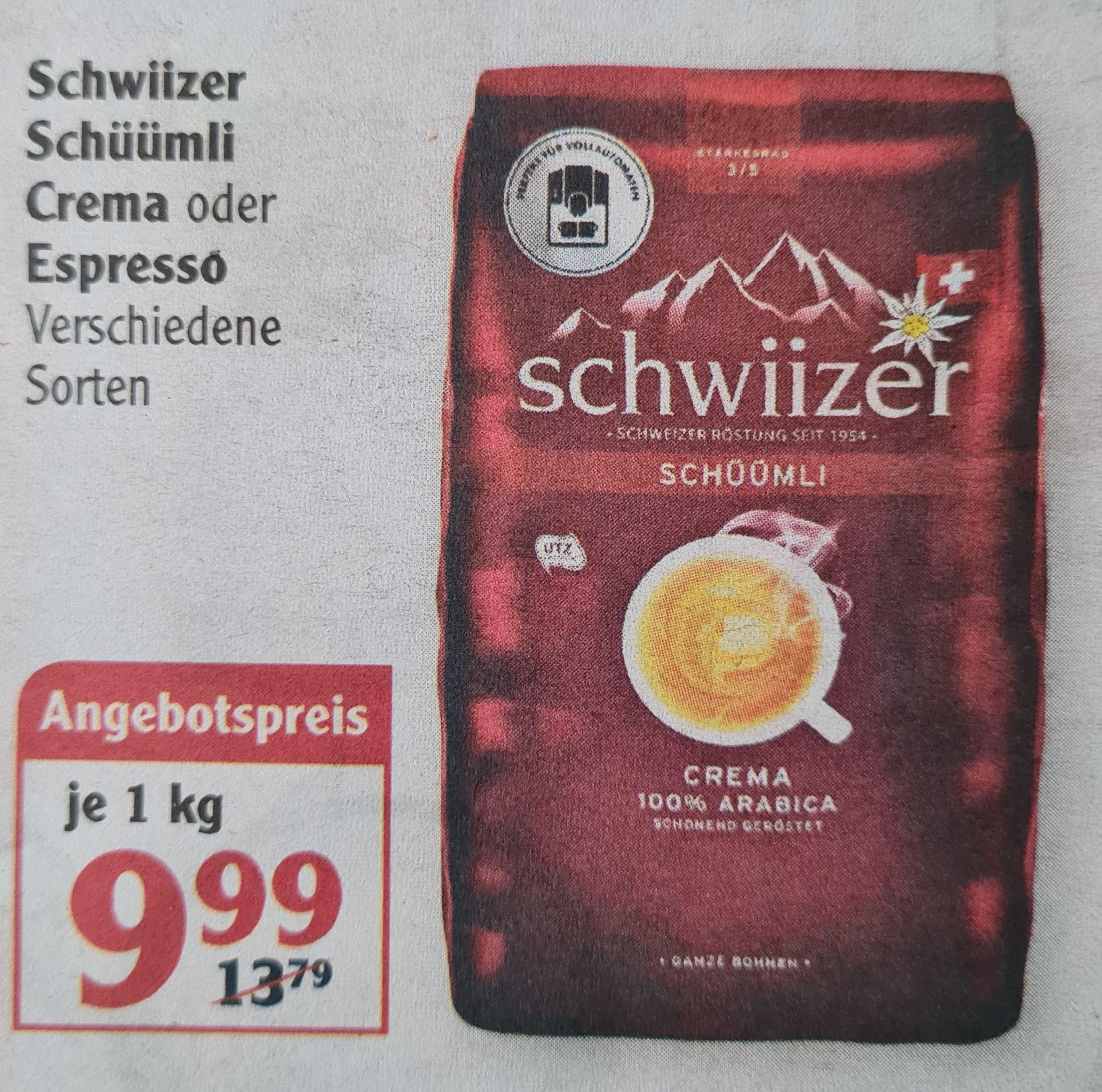 Schwiizer Schüümli Crema oder Espresso 1000 g Bohnenkaffee verschiedene Sorten ab 03.05 Globus