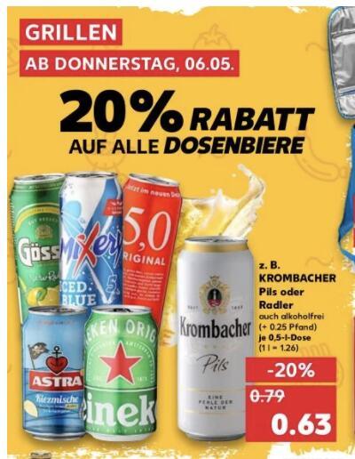 20% auf Dosenbier (Gösser, Krombacher, Heineken, Corona, 5.0er etc - Vatertag incoming) [Kaufland]
