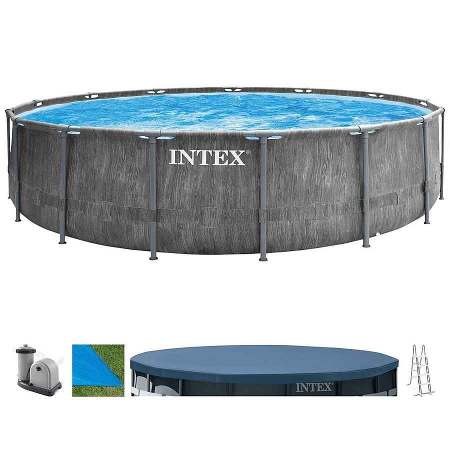 Intex Frame Pool Prism Greywood 457 x 122 cm (26742)