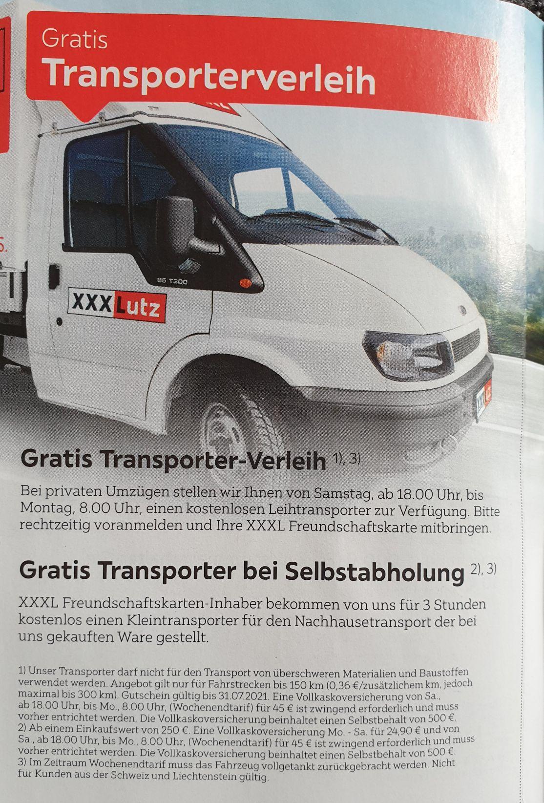 Für 45€ Vollkasko: Transporter Verleih für Umzüge Sa. (18 Uhr) bis Mo. (8 Uhr) XXXL Freundschaftskarte
