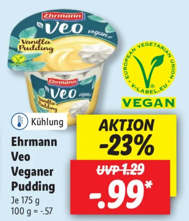 Real ab 03.05 & Lidl ab 06.05 - Ehrmann Veo Pudding für effektiv 0,49€ dank Marktguru-Cashback