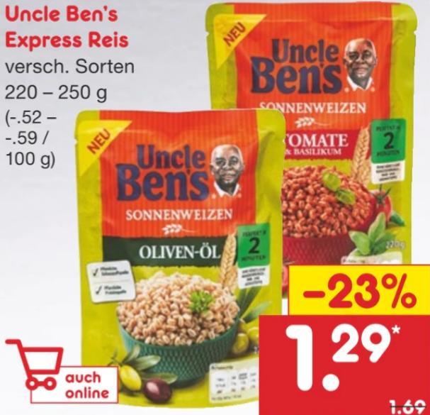 Netto ohne Hund - Uncle Bens Sonnenweizen effektiv für 0,79€ pro Packung dank Coupies-Cashback
