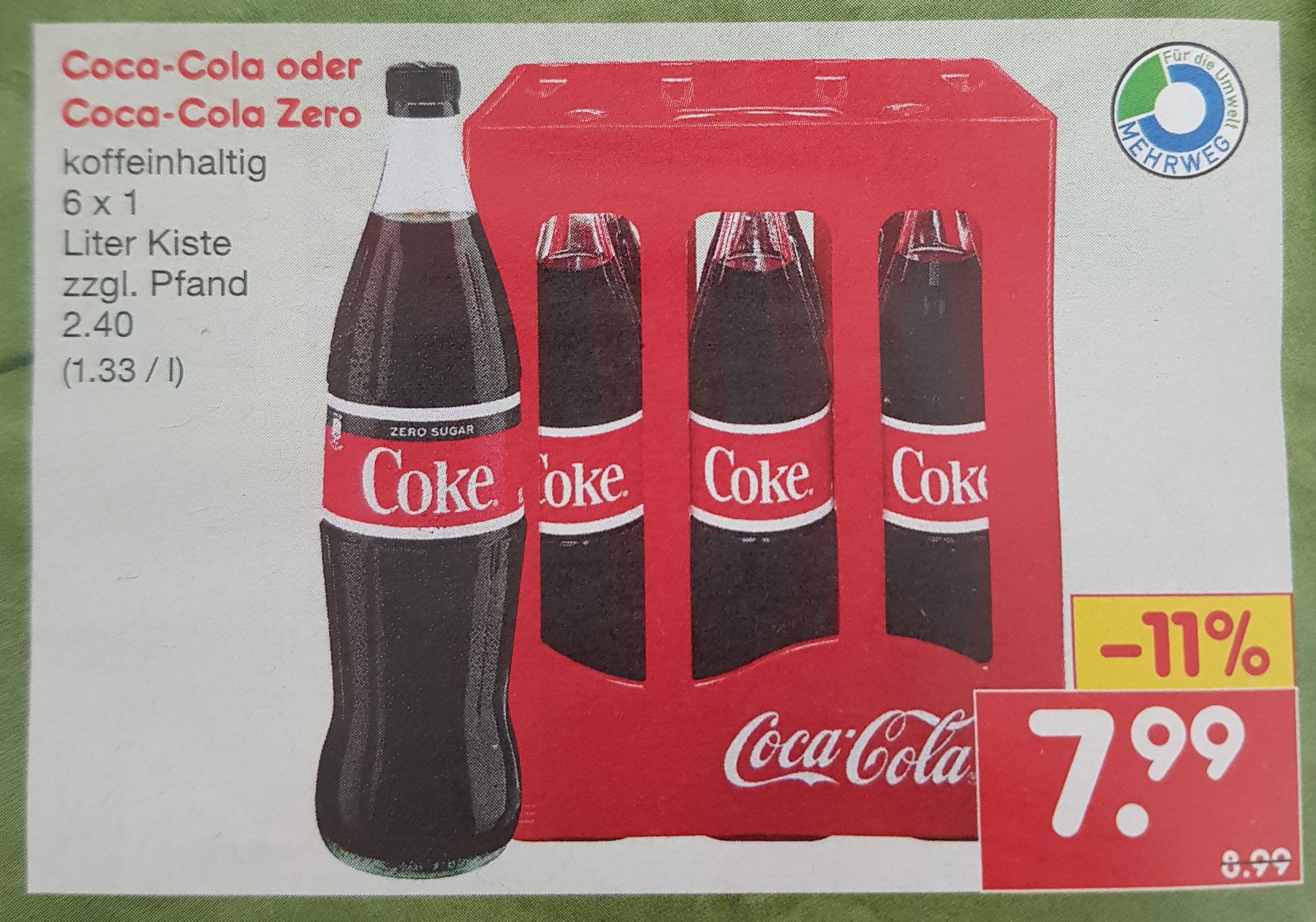 [ NETTO ] Coca-Cola / auch Zero 6x1 Liter GLASFLASCHEN im Kasten
