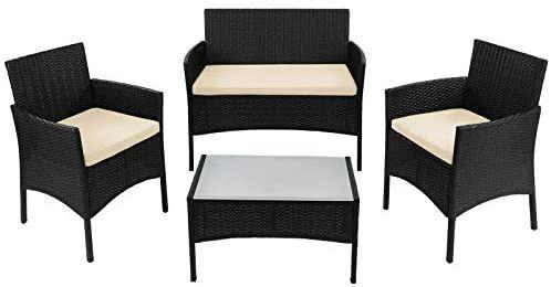 7-teilige Polyrattan Sitzgruppe für 4 Personen inkl. Sitzpolster und Tisch Balkonmöbel Verschiedene Farben Set Sitzgarnitur