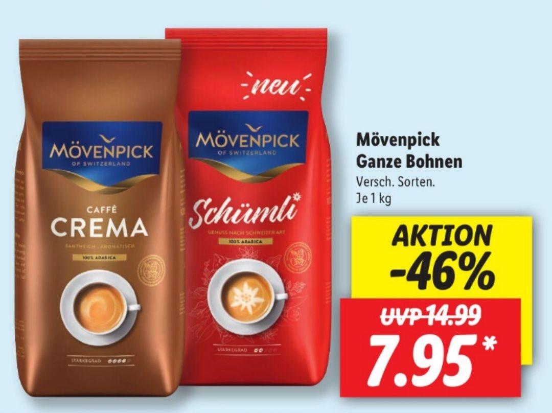 Mövenpick Caffè Crema und NEU Mövenpick Schümli je 1 Kg verschiedene Sorten ab 10.05 Lidl