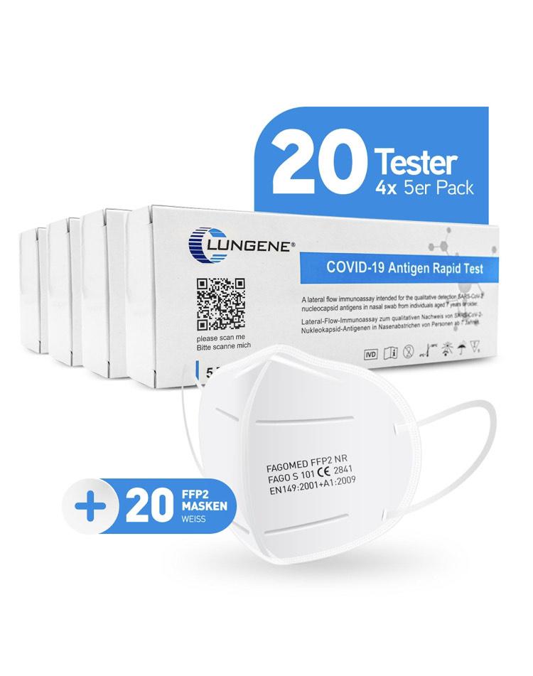 CLUNGENE® Antigen-Testkit - 4 x 5er Verpackung Laientest Rapid SARS-CoV-2 zugelassen gem. BfArM plus 20 x Fagomed FFP2 Masken Famex Weiß