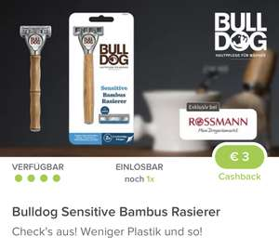 (Rossmann & Marktguru) Bulldog Sensitive Bambus Rasierer inkl. 2 Klingen effektiv für 3,99