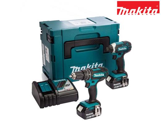 Makita 18-V-Kombiset | Akku-Schlagbohrschrauber + -Schlagschrauber + 2x 5,0-Ah-Akku + Box | DHP482 | DTD152