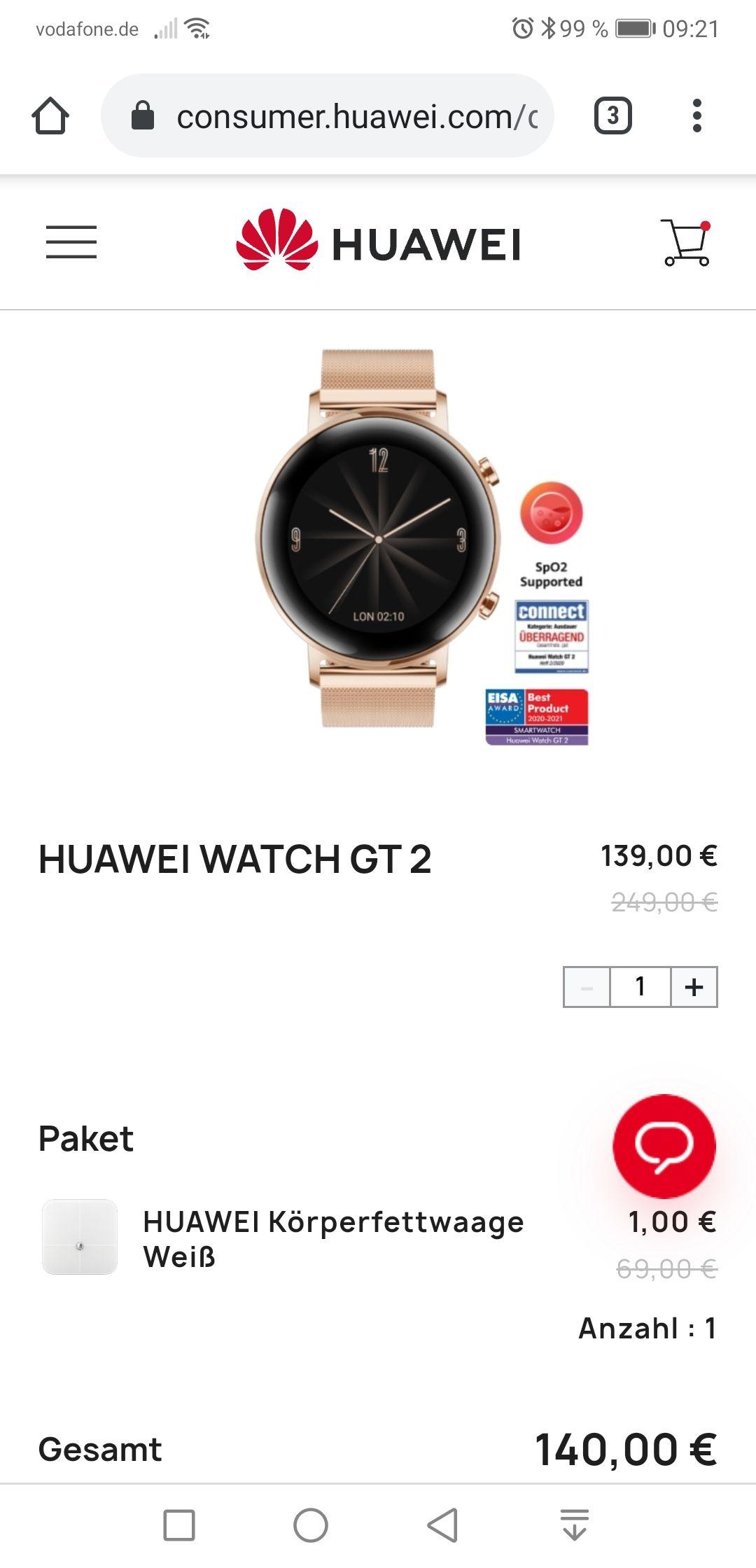 Smartwatch Huawei Watch GT2 42mm rosegold zusammen mit Körperfettwaage