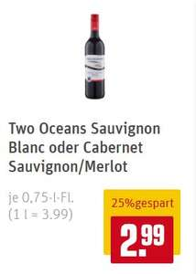 Two Oceans Weine bei REWE für 2,99€ + Handyhülle ab 6 Flaschen