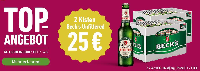 [Flaschenpost] 2 Kisten Beck's Unfiltered (2 x 24 x 0,33l) für 25 € (1,58 €/l) zzgl. Pfand