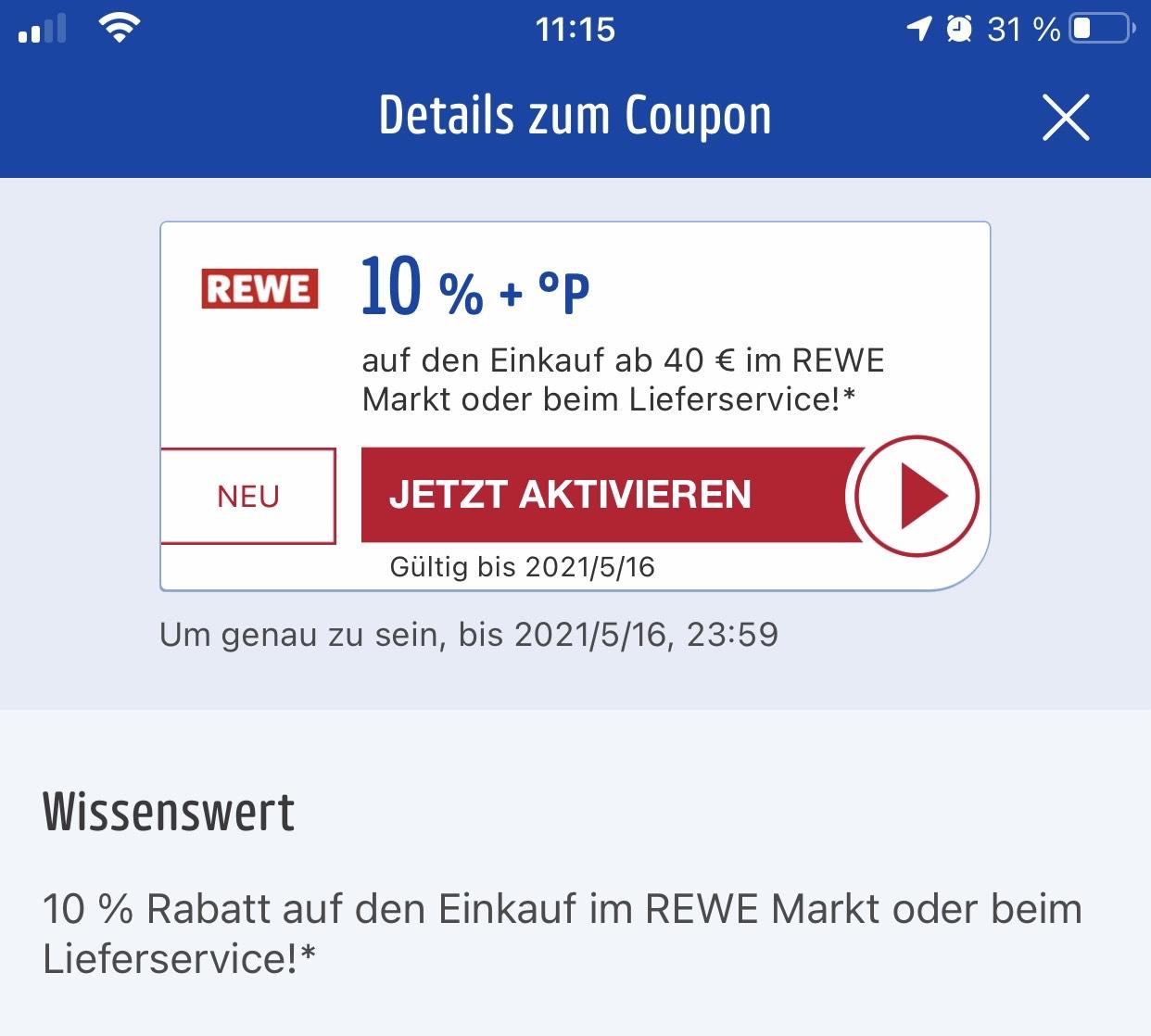 [Ws. personalisiert, REWE] 10% Rabatt + Payback-Punkte bei MBW 40€