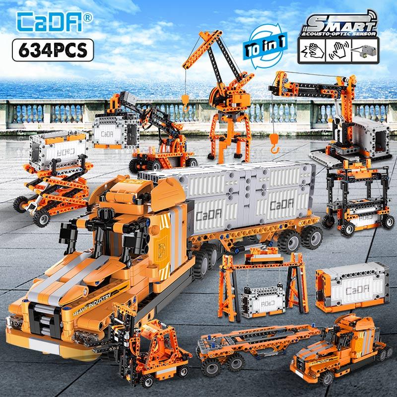 [CADA Klemmbausteine] vom CADA Official Store z.B. der City Port LKW - 10 in 1 Set mit 634 Teilen und Motorisierung